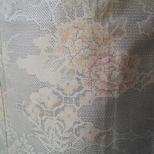 【袷】雲取に四季植物柄の染め大島紬