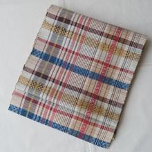 【なごや帯】茶系カラフル格子紬地八寸なごや帯