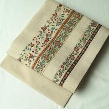 【なごや帯】大浦紫山製 紬地 可憐な変わり縞手描き更紗