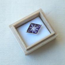 HOLD中・【帯留】小川郁子作 江戸切子帯留 紫色 「星」(菱形)