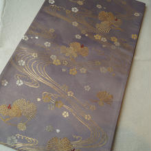 【ふくろ帯】薄紫地 松・桜に流水文