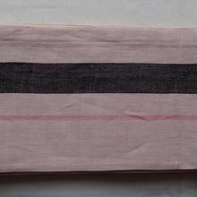 【半幅帯】薄桃色に縞柄の麻半幅帯