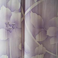 【夏・絽】夏花モチーフのパープル系絽小紋