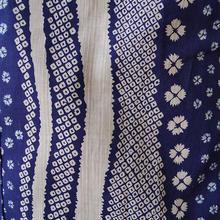 【浴衣】撫子と疋田絞り柄のよろけ縞プレタ浴衣