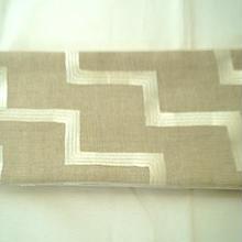【再入荷・半幅帯】砂色 フレンチリネン 幾何学文 リバーシブル 仕立ておろし品