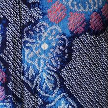 【浴衣】藍色系の花モチーフの絞り浴衣