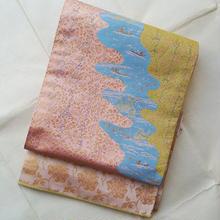 【ふくろ帯】渡し船に和歌、龍村晋袋帯