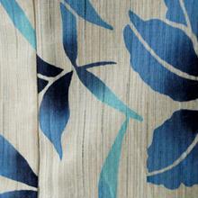 【浴衣】生成ベージュ×寒色系 春蘭のような抽象花柄