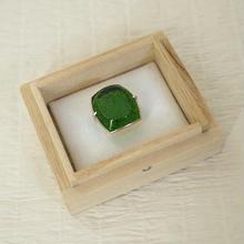 【帯留】小川郁子作 江戸切子帯留 緑色 「菊つなぎ」(四角たて)