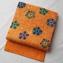 【なごや帯】花唐草文型染生紬なごや帯