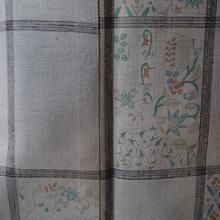 【袷】トールサイズ・灰色地格子に更紗文紬