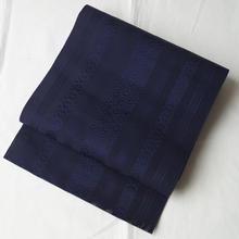 【夏・なごや帯】茄子紺色の紗博多帯