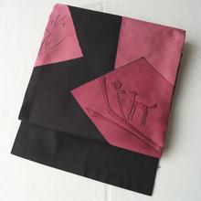 【なごや帯】ブラック×ローズピンク抽象文織りなごや帯