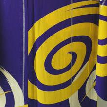 【単衣・アウトレット】紫色地 渦巻き文 アンティーク着物