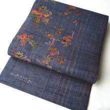 【なごや帯】青紫色 生紬地 更紗文 開き名古屋帯