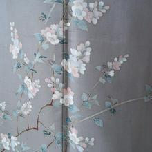 【袷】グレージュ地 桜や野の草花の紬地附け下げ