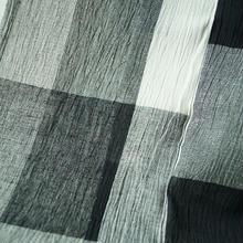 【浴衣】綿麻ちぢみ 白×黒格子柄浴衣