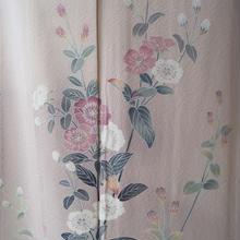 【単衣】桜色系に植物文 単衣附下
