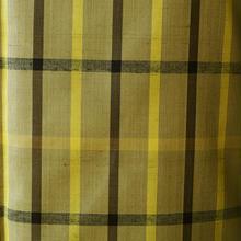 【袷】渋黄色系大きな格子柄紬