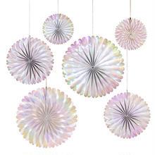 【merimeri】Iridescent Pinwheels 6点セット/オーロラカラーペーパーファンセット[45-3074]