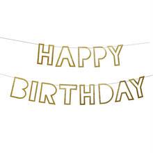 【MeriMeri】ガーランド//Happy Birthday /ゴールドグリッター [MM0101-45-1691]