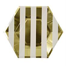 【MeriMeri】ペーパープレート/大 8枚入り/ゴールドストライプ [45-1235]