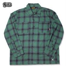 BLUCO(ブルコ)OL-047-018 OMBRE CHECK SHIRTS グリーン