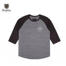 BRIXTON(ブリクストン) WHEELER 3/4 SLEEVE TEE ブラックxグレー