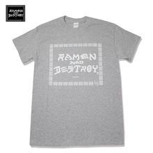RAMEN&DESTROY Tシャツ グレーxホワイト