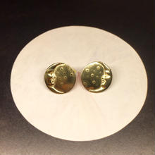 三日月と星屑のピアス両耳用(ゴールド)