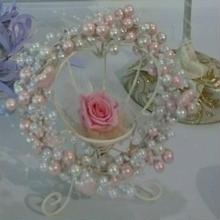 パールの華やかリース & プリザのバラ1輪 セット