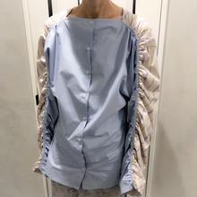 over size shirring shirt (purple)