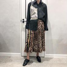 leopard pleats skirt (brown)