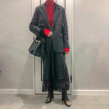 fake leather × chiffon combi skirt
