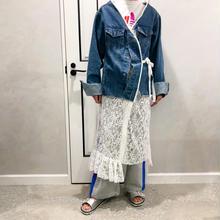 denim lace long jacket