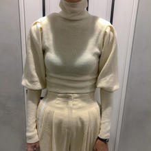puff sleeve turtle neck knit(white)