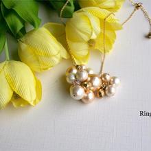 受注制作 コットンパールのpetite-bouquetネックレス(ゴールド)