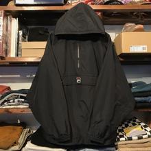【ラス1】FILA anorak pull-over nylon jacket (Black)