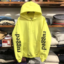 "【ラス1】RUGGED ""rugged®"" sleeve logo light sweat hoodie (8.0oz/Light Yellow)"