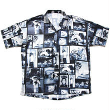 【残り僅か】Mark Gonzales Photo open collar S/S shirt (Black)