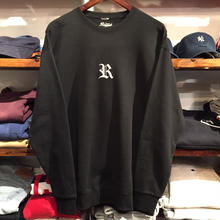 "【ラス1】RUGGED ""OLD R"" light oz. sweat (9.4oz./Black/White)"