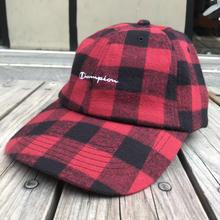 【ラス1】Champion Wool Check adjuster cap (Red)