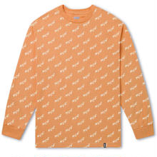 "【ラス1】HUF  ""Bolt All-Over"" Long Sleeve Tee (Peach)"