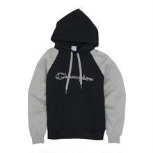 【残り僅か】Champion logo raglan hoodie (Black)