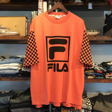 【残り僅か】FILA box logo check sleeve tee(Orange)