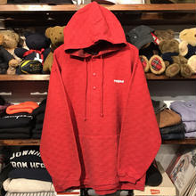 """RUGGED on vintage """"ARCH LOGO"""" harf button hoodie (Red)"""
