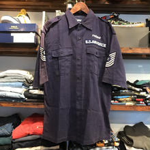 "RUGGED on vintage ""ARCH LOGO"" military shirt ( Navy)"