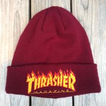 THRASHER flame logo beanie