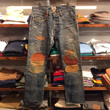 RRL leather patch work jeans(W32/L30)Made In USA