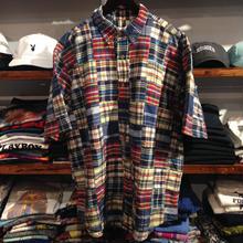 Eddie Bauer patchwork check S/S shirt(L)